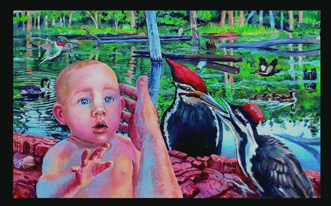 painting of my baby with a pileated woodpeker